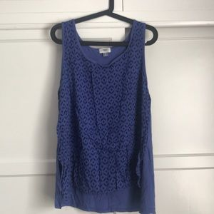 Blue patterned tank top.